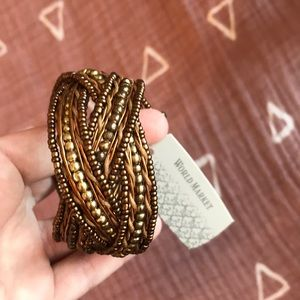 World Market Brown Beaded Bangle Bracelet (new)